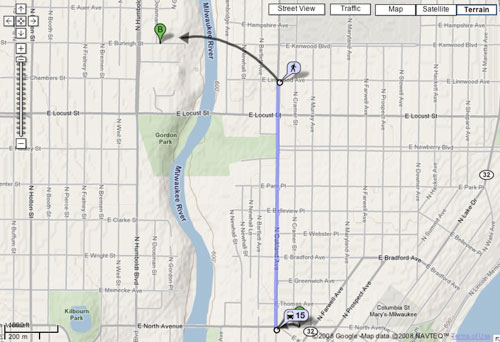 Google Transit: Ford the Milwaukee River