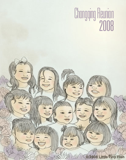 An illustration of 13 adopted Chinese children.