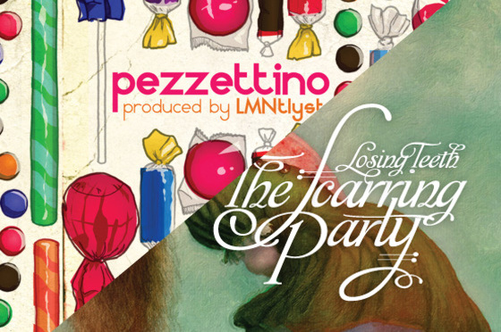 "A split of Pezzettino's ""Lub Dub"" and The Scarring Party's ""Losing Teeth."""