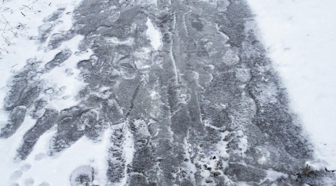 A completely iced-over, impassable Kaddish Park switchback.